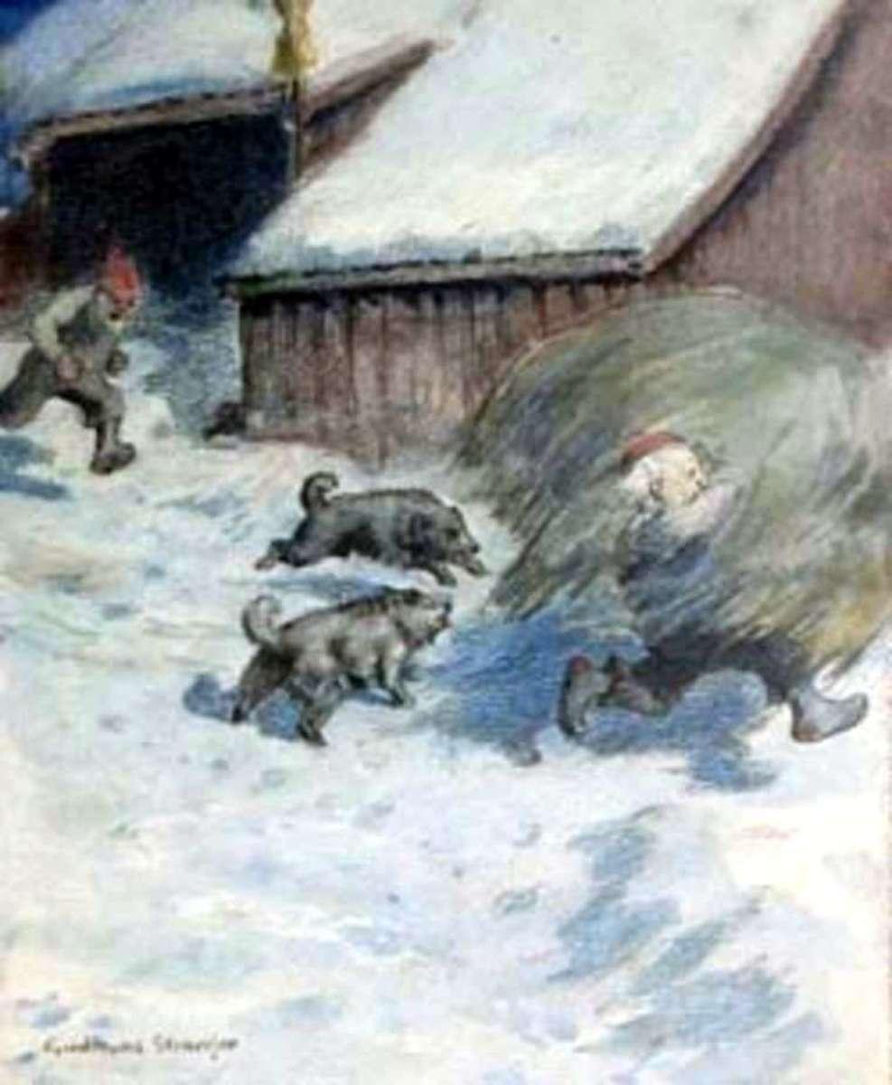 Tomte stealing hay from a neighbor by Gudmund Stenersen.