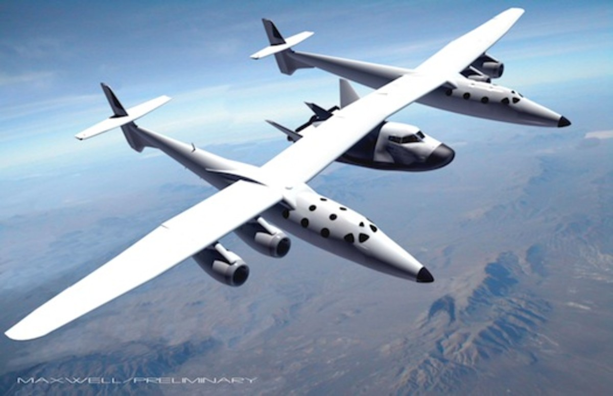 Dream Chaser being launched by Virgin Galactic's White Knight 2 in an artist's rendering.