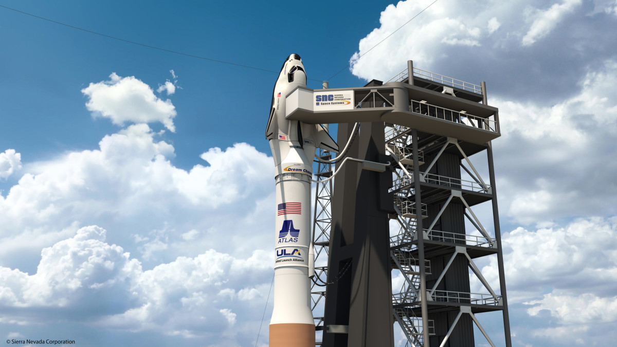 Dream Chaser atop an Atlas V rocket in this artist's rendering.
