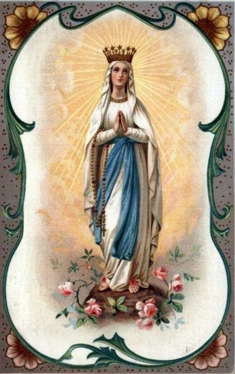 "The Virgin Mary on a vintage card. She was given titles such as ""Queen of Heaven"" and ""Star of the Sea"" which highlighted her effective role as goddess."
