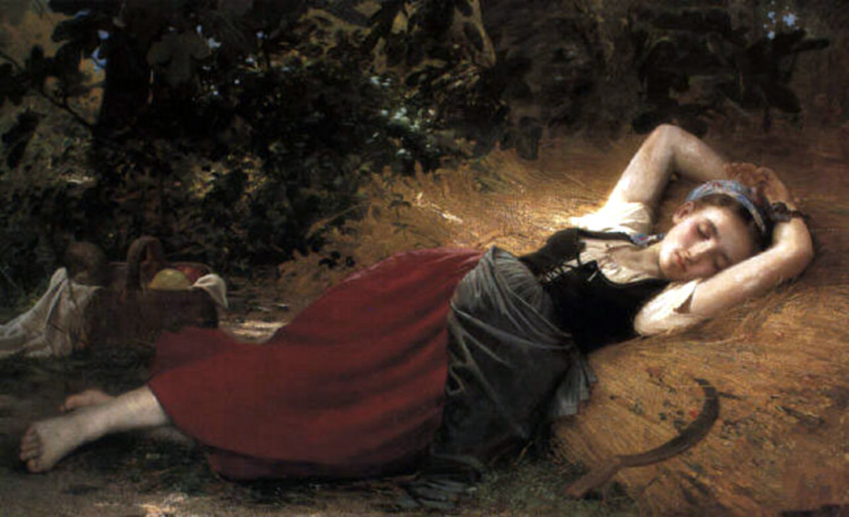 Peasant girl sleeping, by Leon Jean Basile Perrault