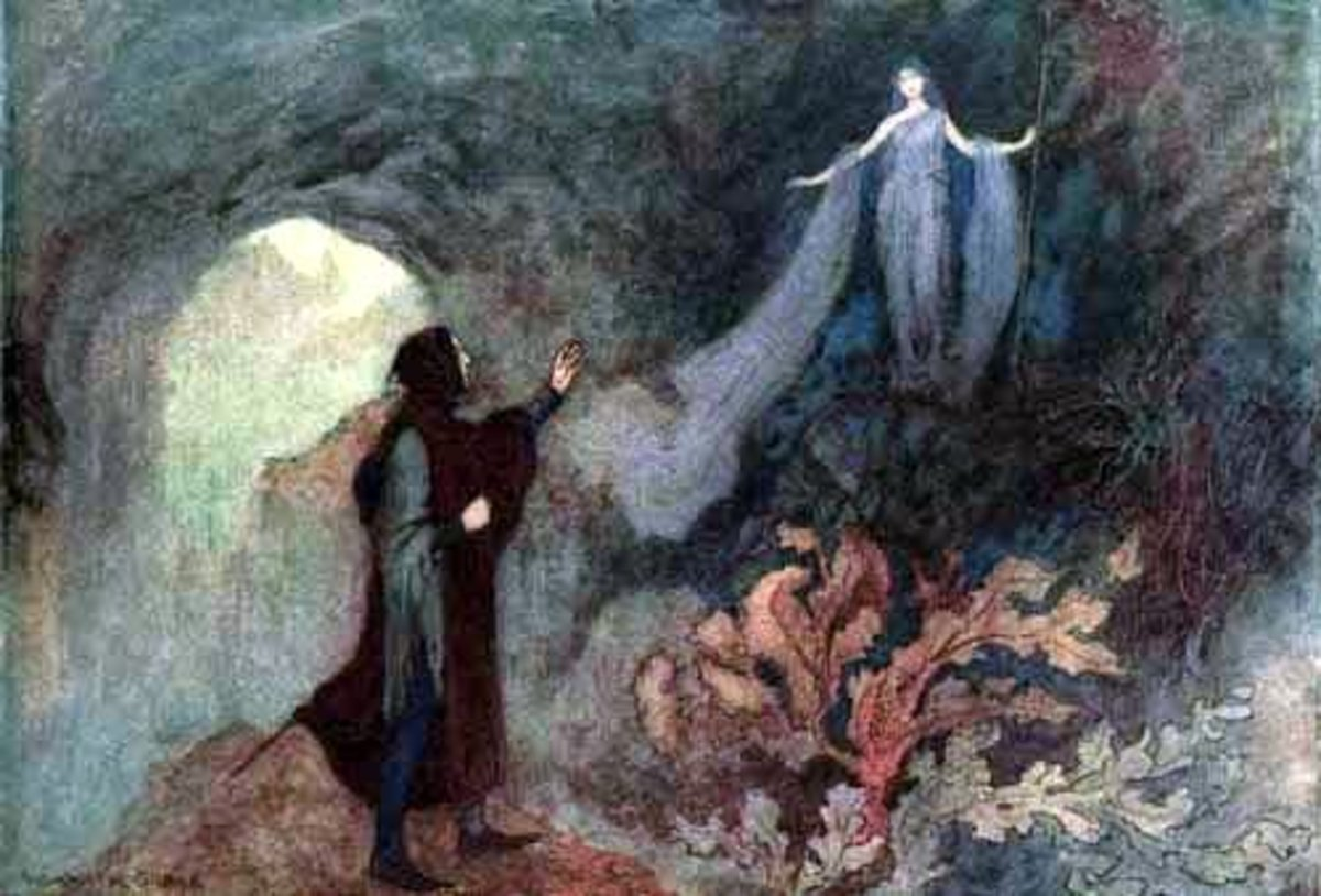 """The Fairy appearing to the Prince in the Grotto,"" Warwick Goble illustration for Cenerentola"