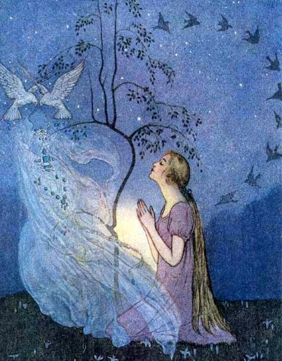 Cinderella praying to her mother's spirit within the tree. Illustration by Elenore Abbott