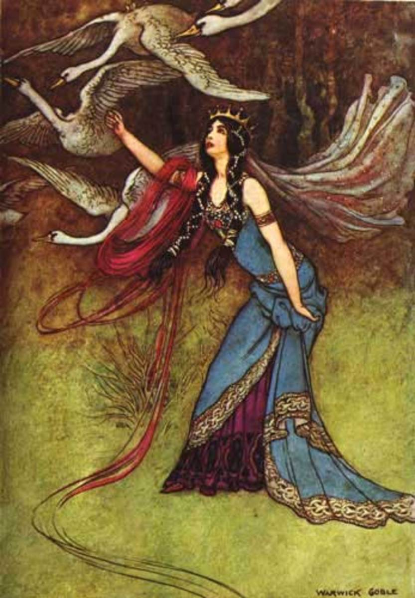 "A Warwick Goble illustration for ""The Six Swans"""