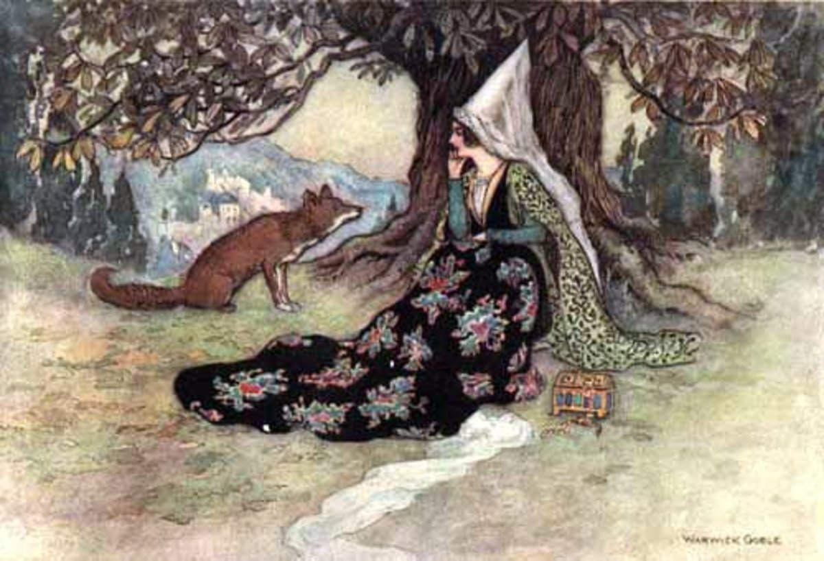"""Grannonia and the fox"" by Warwick Goble"