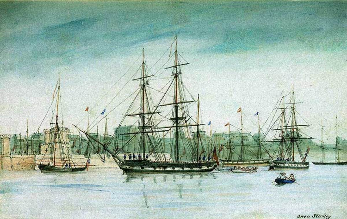HMS Beagle in Australia, from a watercolor by Owen Stanley.  Image courtesy Wikimedia Commons.