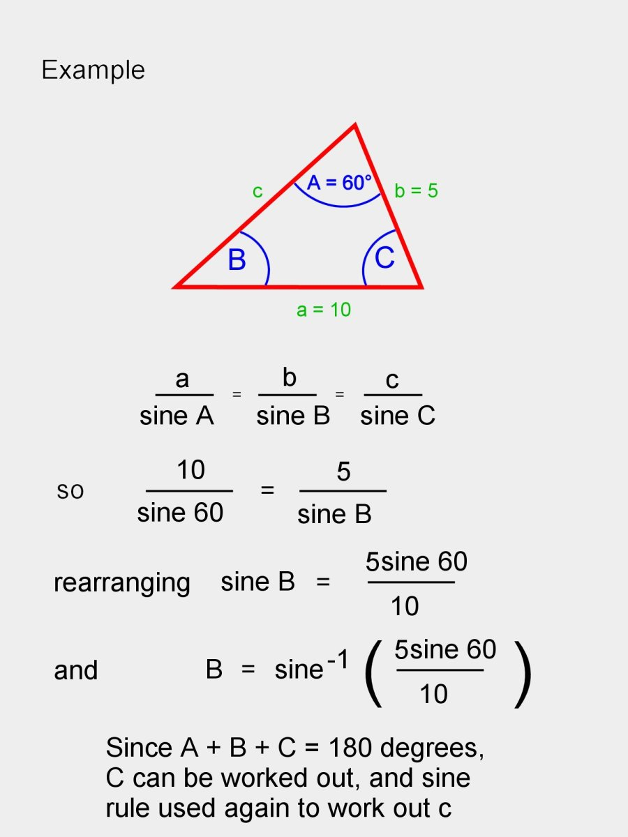 Example showing how to use the sine rule to calculate the unknown side c.
