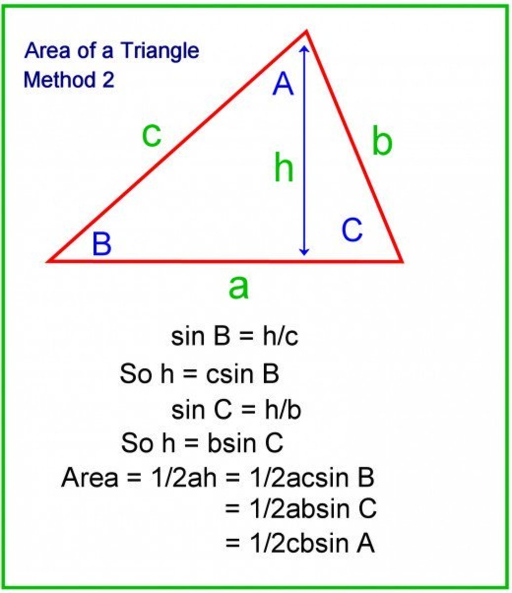 Area = 1/2 the product of the sides multiplied by the sine of the included angle.