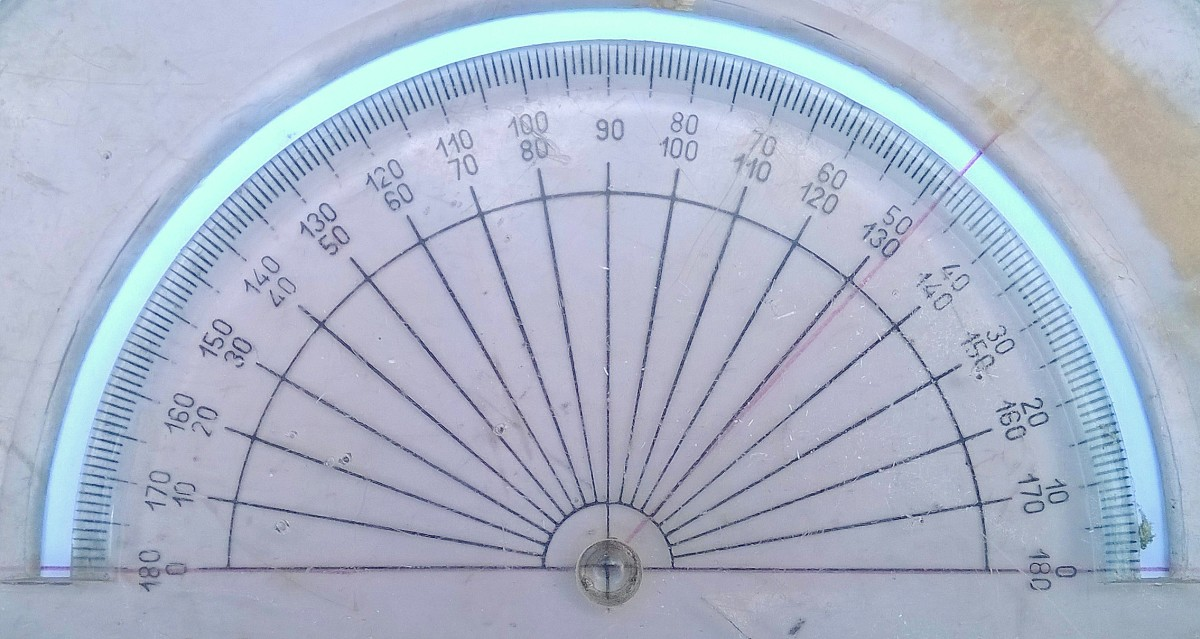 You can measure an angle with a protractor.