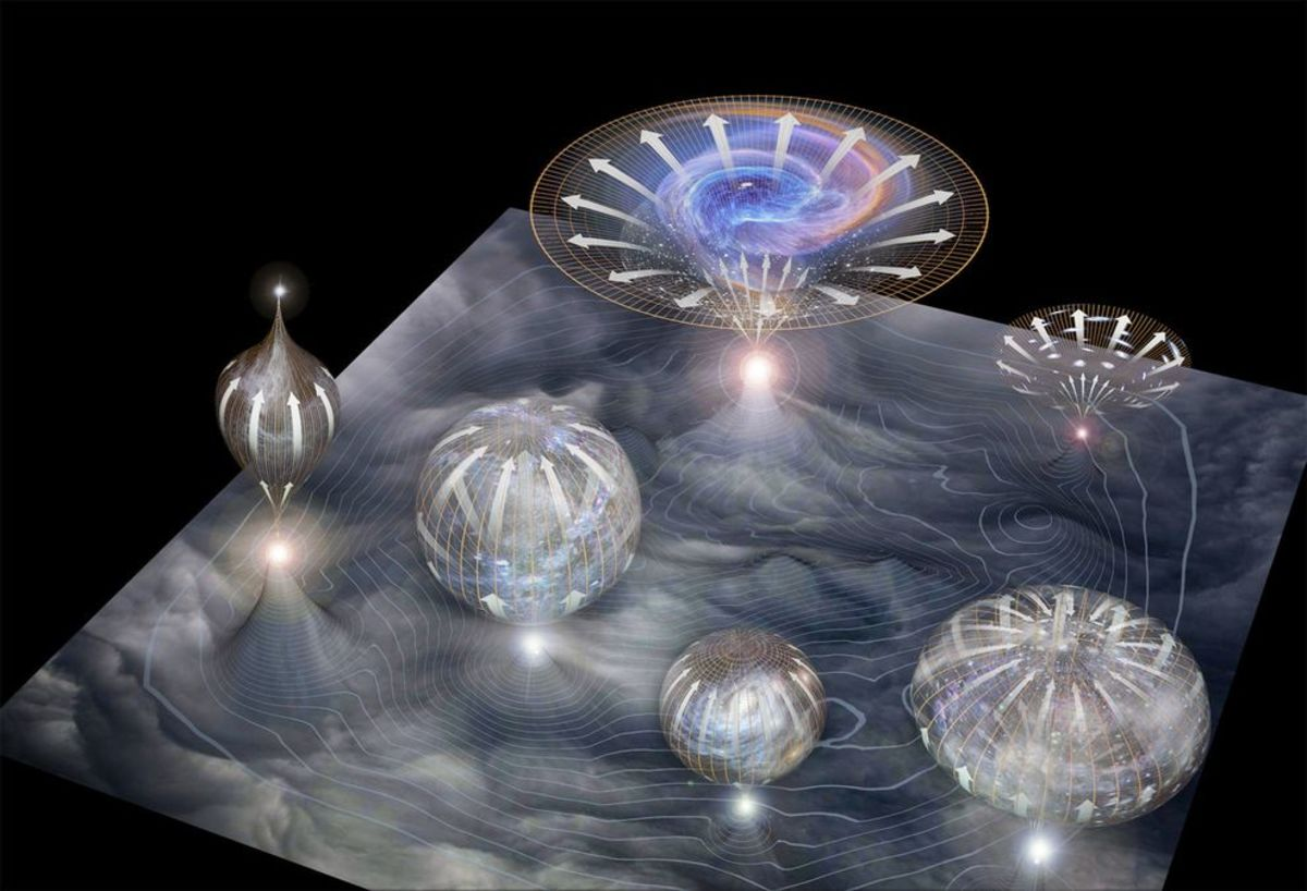A visualization of the bubble universe model.