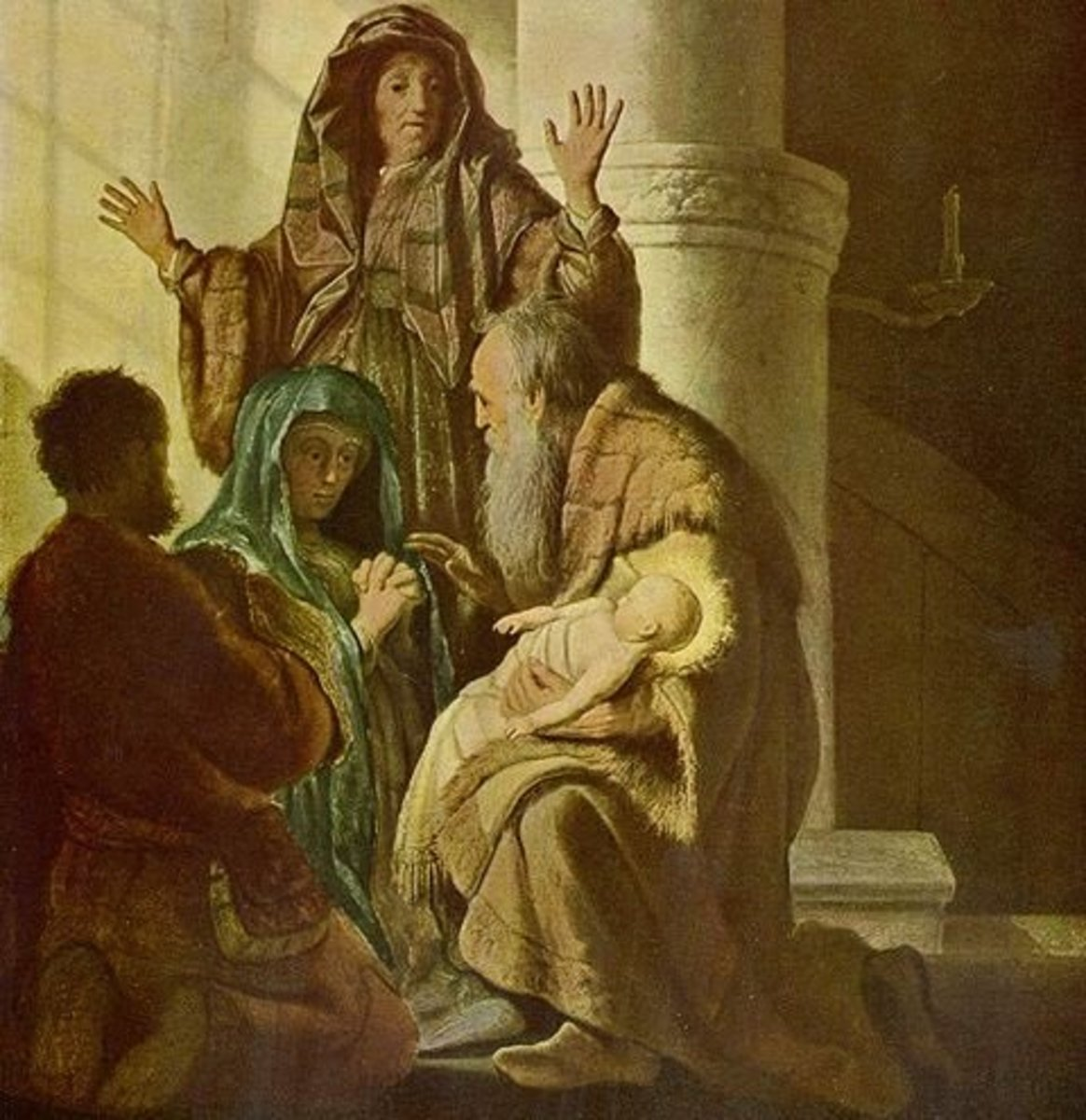 """Hannah and Simeon in the Temple."" Anna recognizes the Messiah."