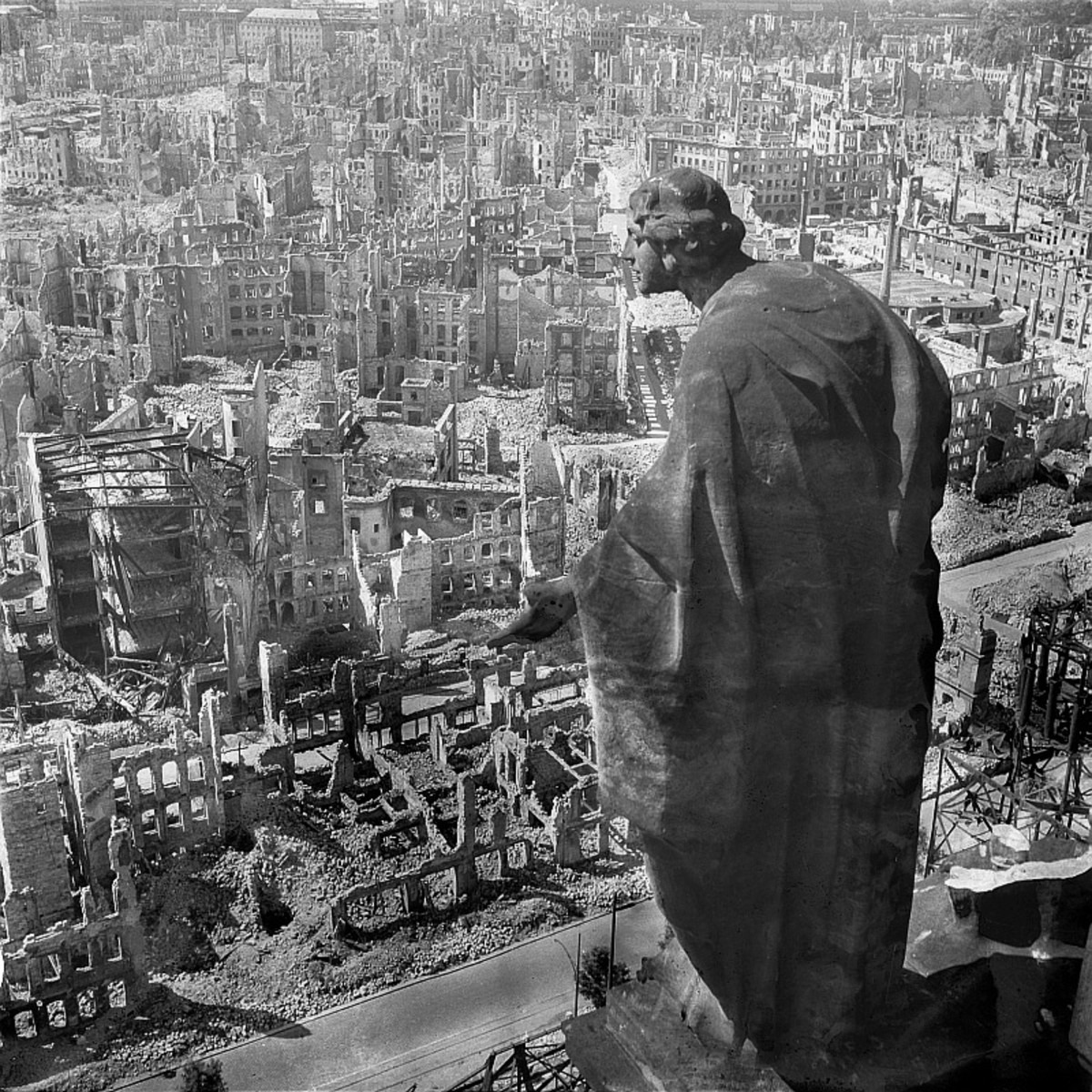 About 90 percent of central Dresden was destroyed.