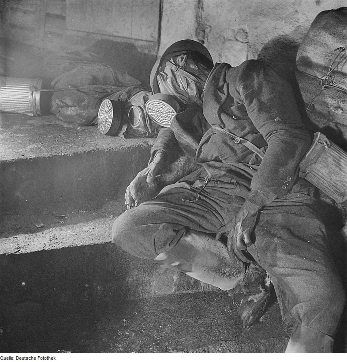 The gas masks didn't help these two soldiers because all of the oxygen was sucked out of their refuge.