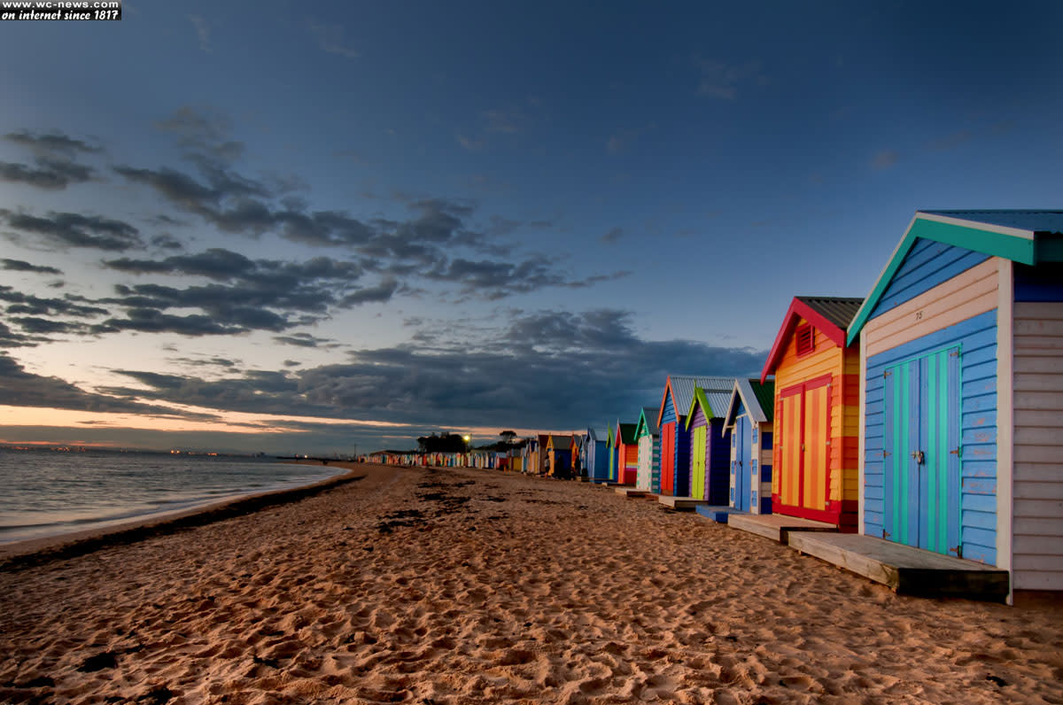 Colorful bungalows on the beach at Melbourne, Australia.