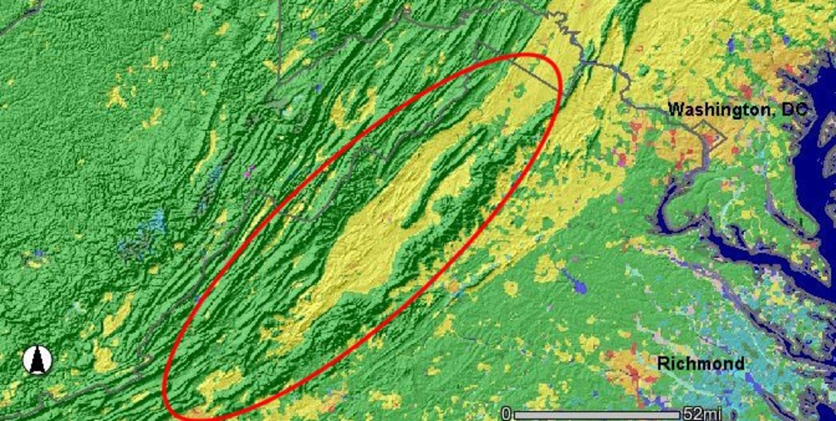 The Shenandoah Valley, circled in red, proved to be a very effective natural defense as countless Union troops were forced into the fatal funnel where they met their demise from  strong fortified Confederate positions throughout the valley.