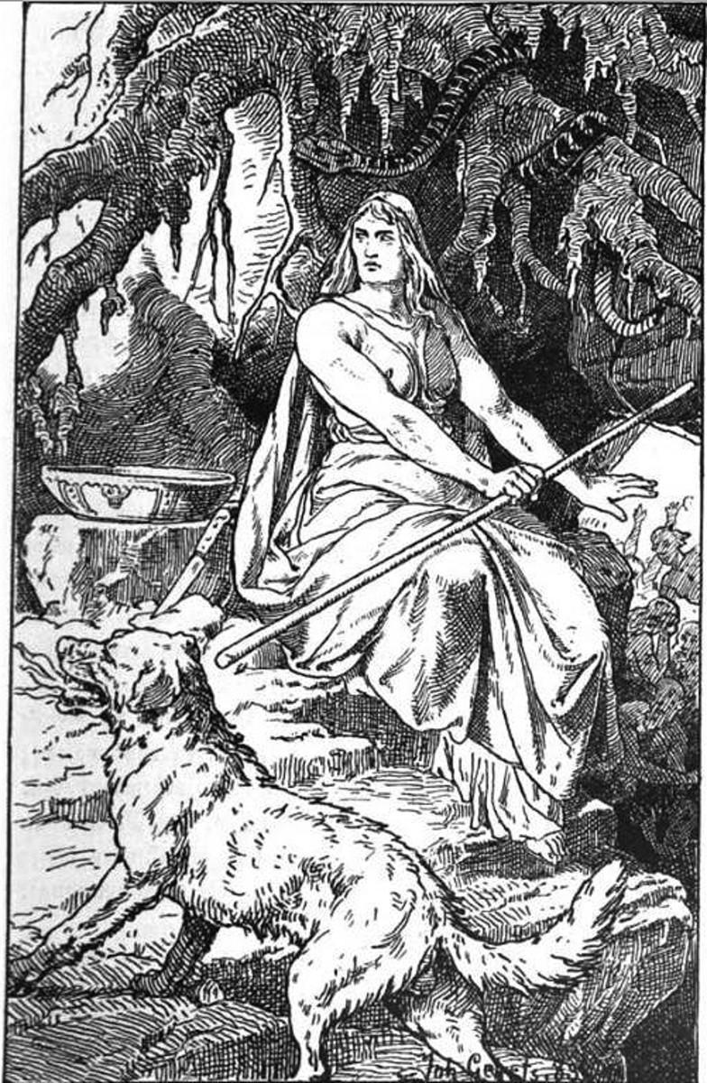 """Hel"" -- Garmr and Hel (Johannes Gehrts 1889)"