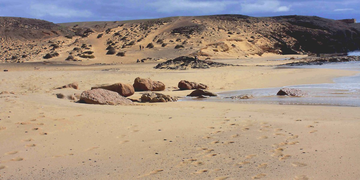 A typical beige beach - Playa Mujeres on Lanzarote, in the Canary Islands