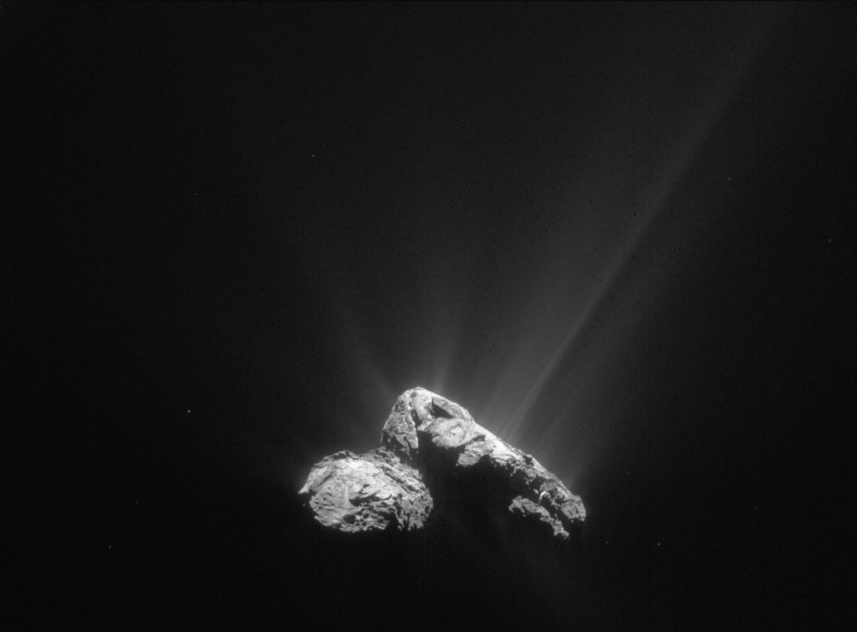 That's mostly water jetting off the nucleus of comet 67P/Churyumov-Gerasimenko on 30 July 2015 as the comet drew closer to the Sun.