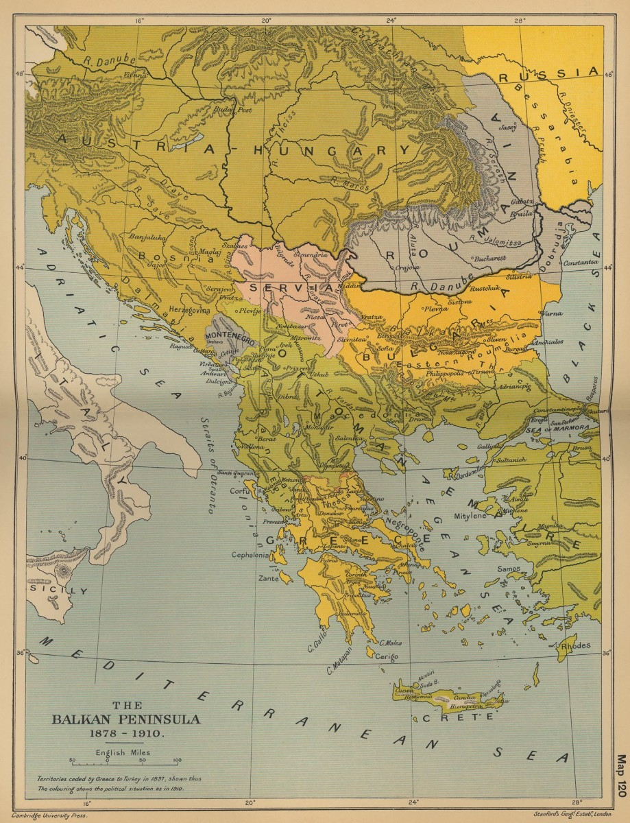Map of the Balkan Peninsula 1878