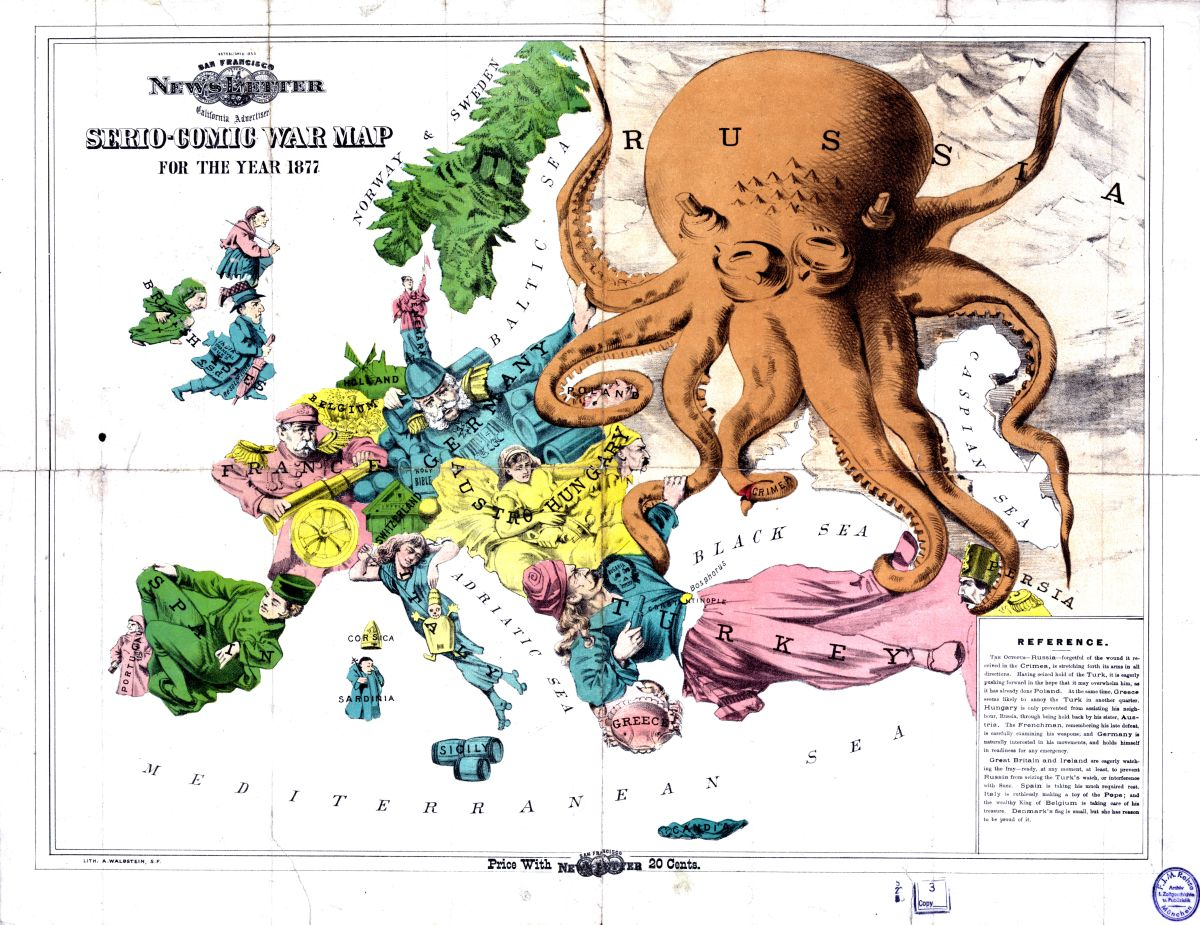 Satirical map of Europe 1877