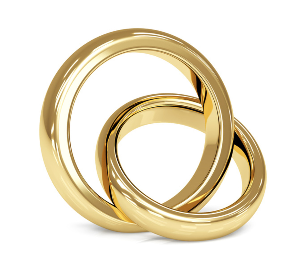 A set of simple modern day wedding rings