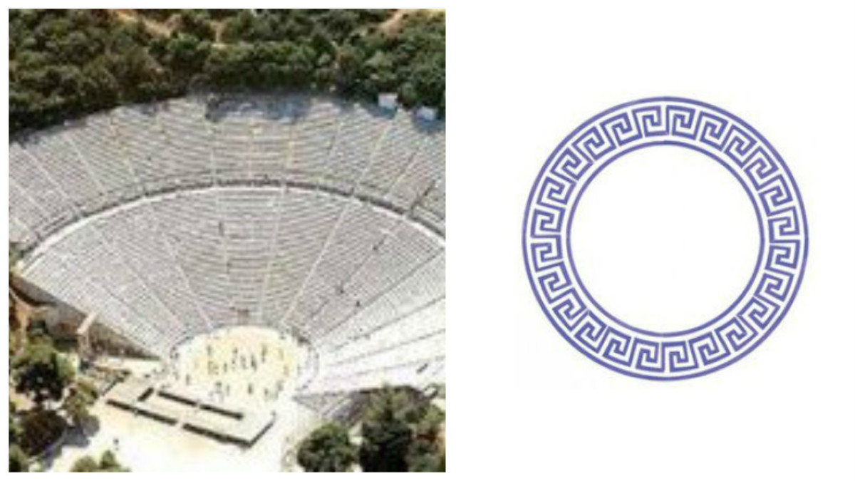 Ancient Greek theater (l); Greek key circle design (r)