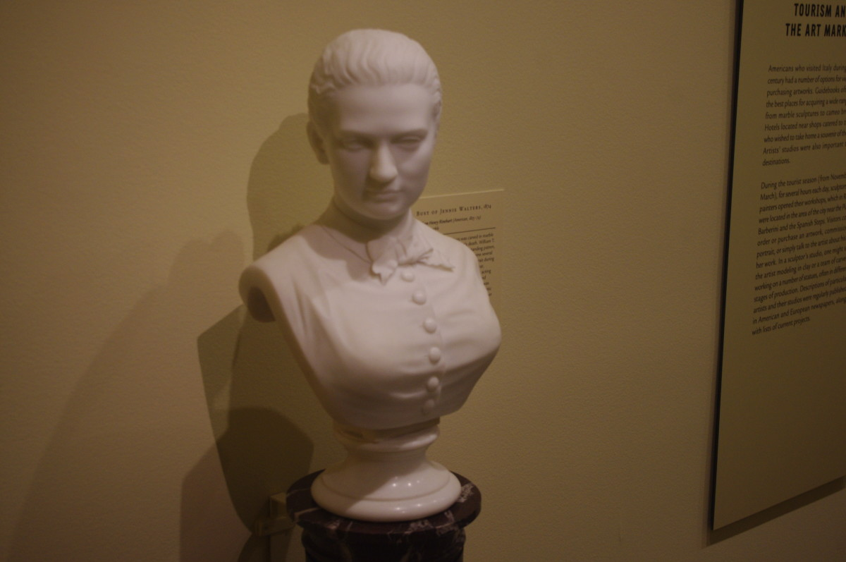 """Bust of Jennie Walters"" (1874) by William Henry Rinehart (American) 1825-1874. Made with marble."