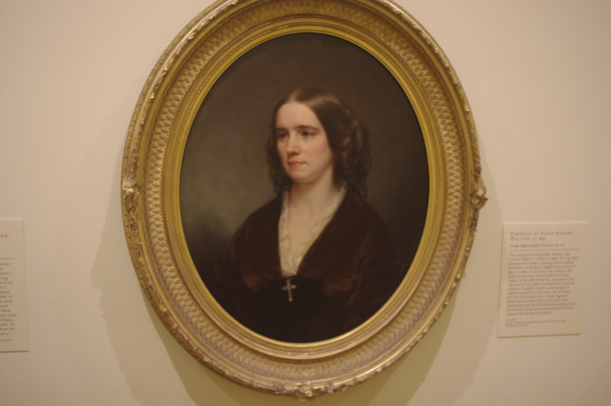 """Portrait of Ellen Harper Walters"" (ca. 1859) by George Augustus Baker (American) 1821-1880. Made with oil on fabric."