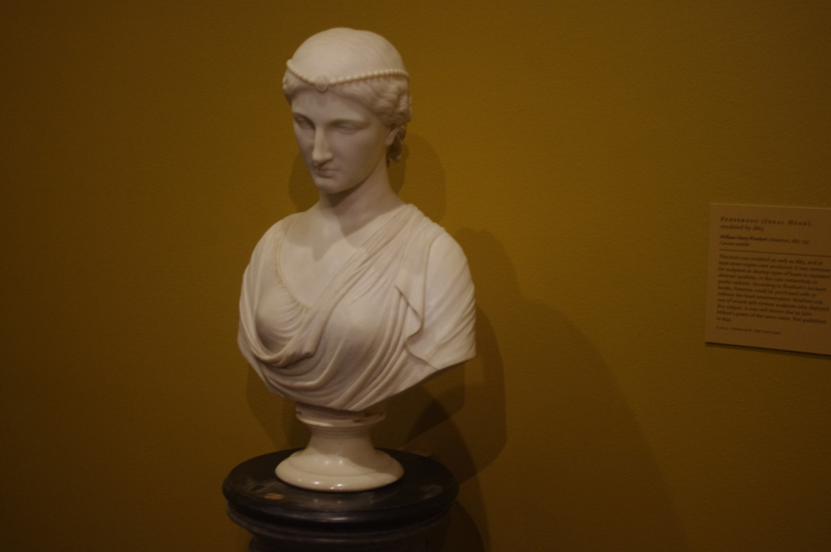 """Peneroso (Ideal Head)"" (modeled 1863) by William Henry Rinehart (American) 1825-1874. Made with marble."