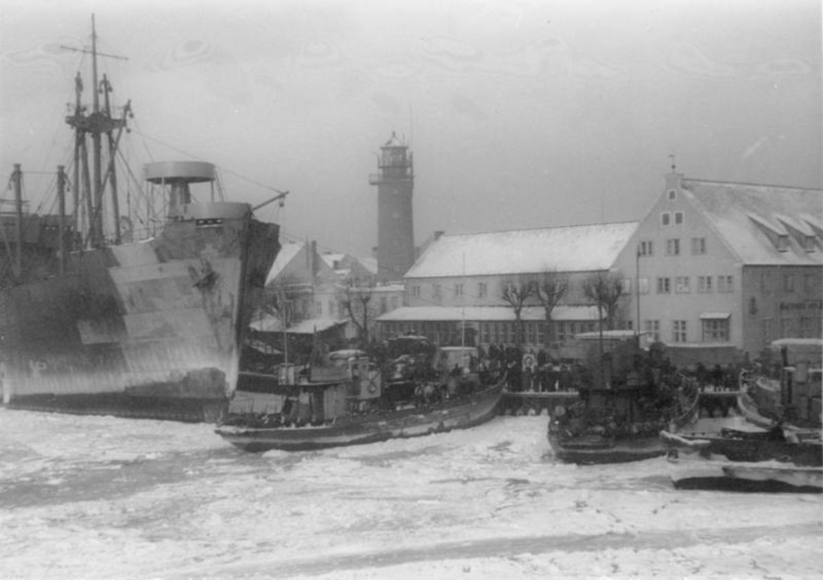 Refugees being evacuated from Pillau, Prussia (today Baltiysk, Russia) January 26, 1945. More than 450,000 were evacuated from Pillau. Two weeks later, the Steuben would sail from here loaded with 4,300 passengers and crew.