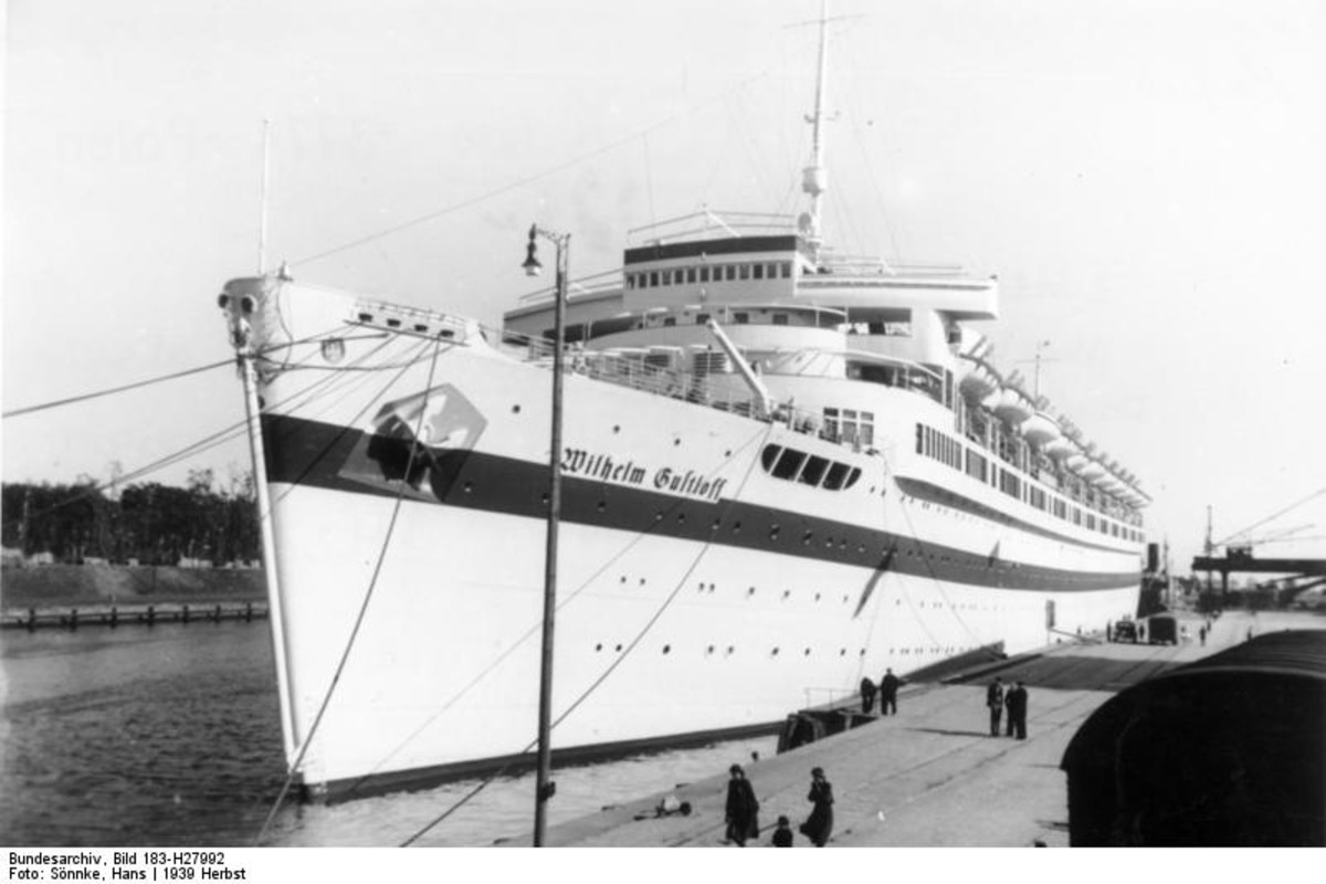 25,500-ton MV Wilhelm Gustloff September 23, 1939 used as a hospital ship in Danzig (Gdansk), Poland. During Operation Hannibal it was not designated as a hospital ship.