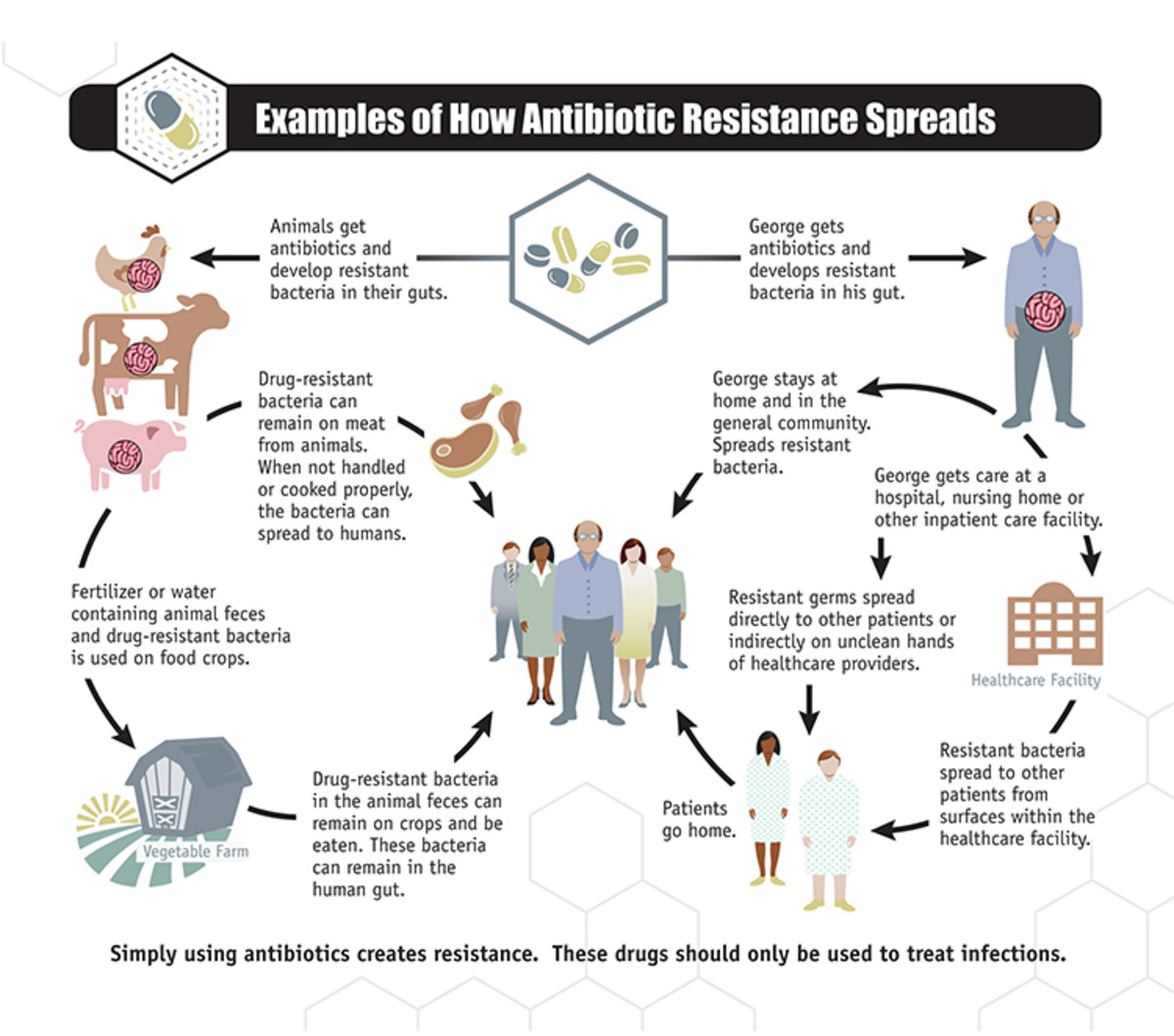 A diagram illustrating the spread of antibiotic resistance