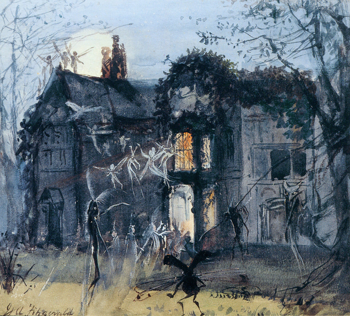 The Old Hall, Fairies by Moonlight; Spectres & Shades, Brownies and Banshees. By John Anster Fitzgerald, circa 1875