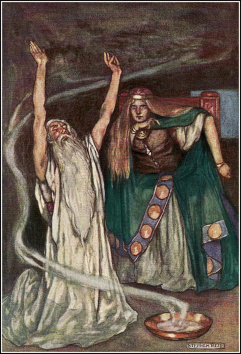A druid performing a sacred ritual involving fire and smoke for the Celtic Queen Maeve. Art by Stephen Reed, 1904