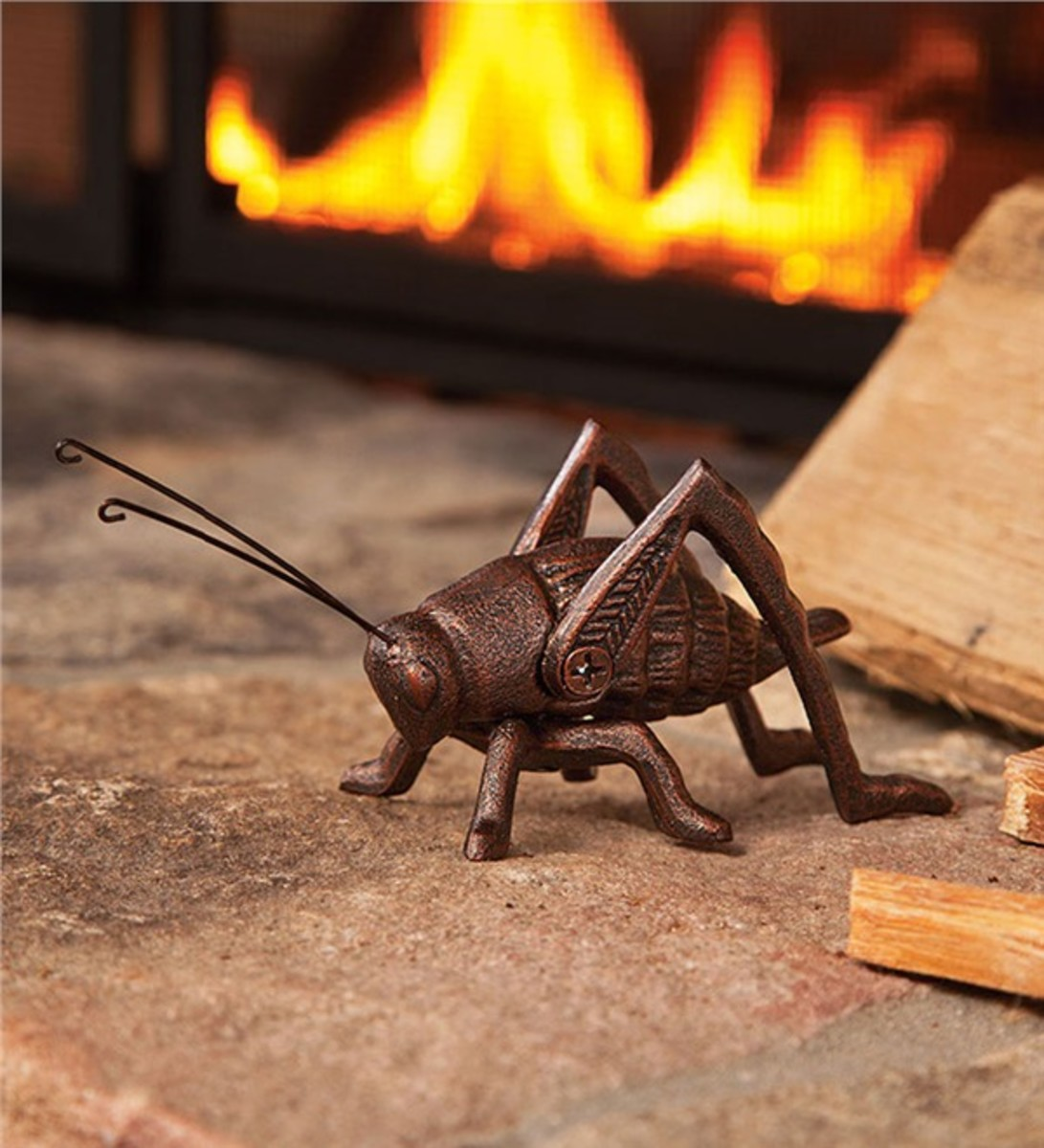 A modern example of a cast iron cricket for the hearthside.