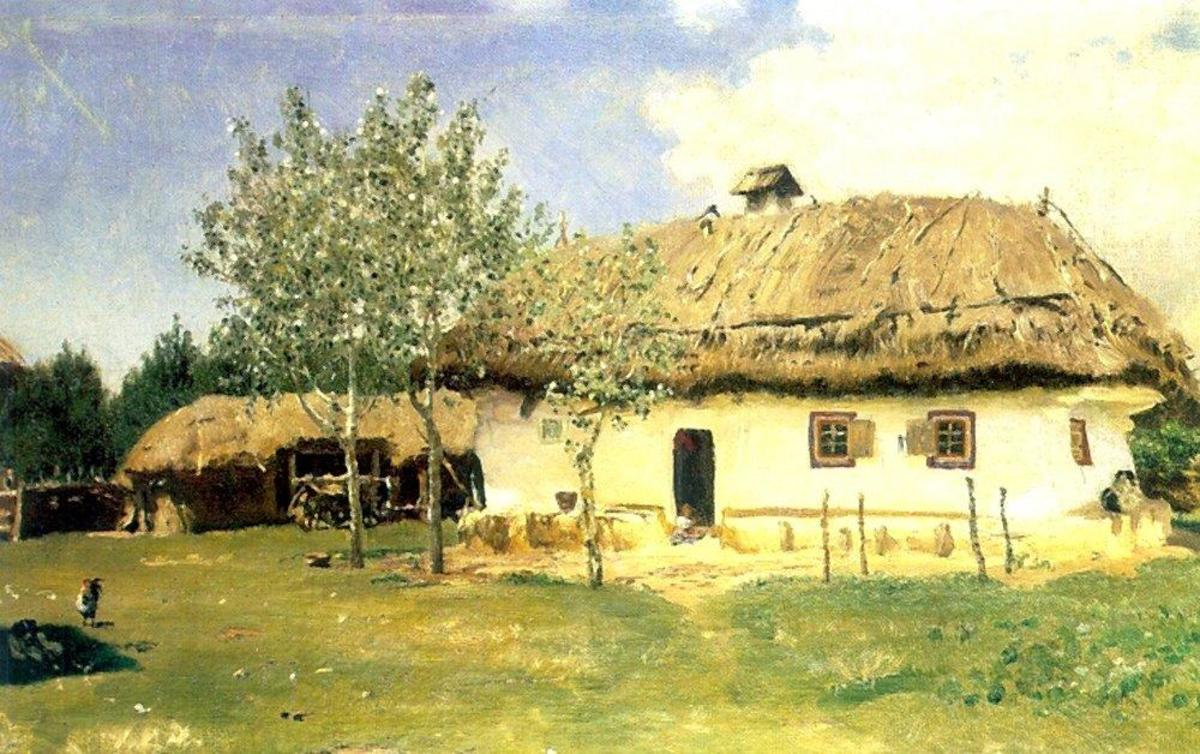 Ukranian peasant's house by  Ilya Repin, 1880