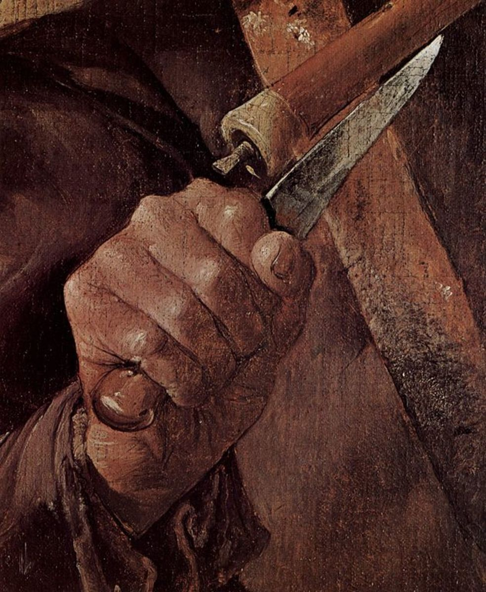 Painting of a knife in hand by  Georges de La Tour, circa 1625.