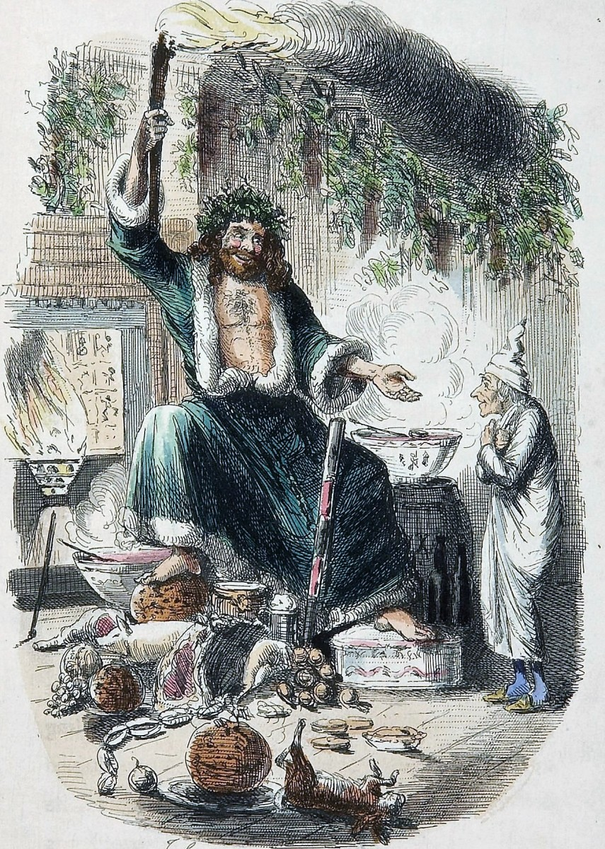 Ghost of Christmas Present, an illustration by John Leech made for Charles Dickens's festive classic A Christmas Carol (1843).