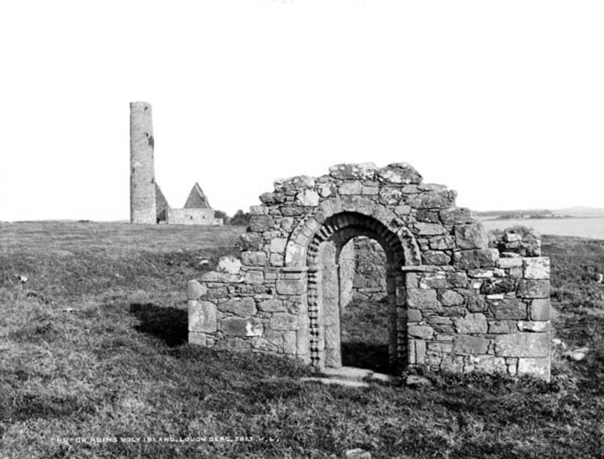 Only the doorway remains of the Holy Island Church Ruins, Lough Derg, Co. Clare. Photo circa 1880-1914