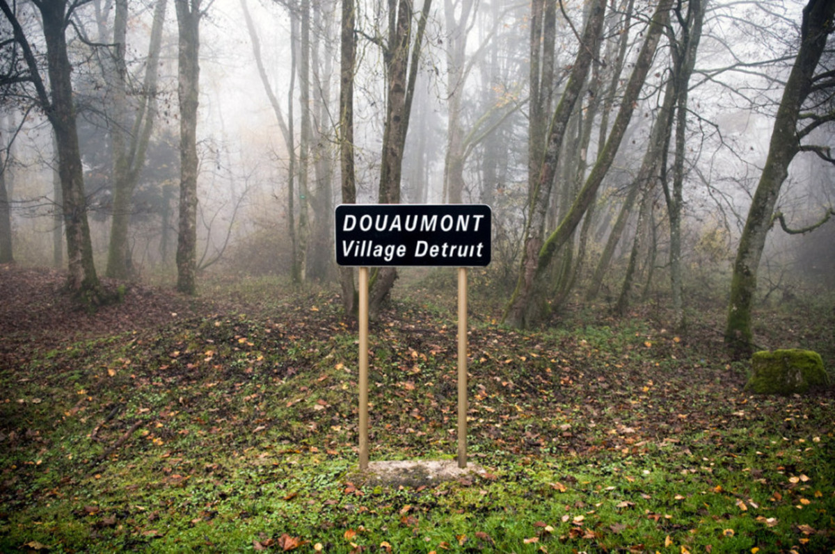 One of the villages destroyed, marked only by this sign.