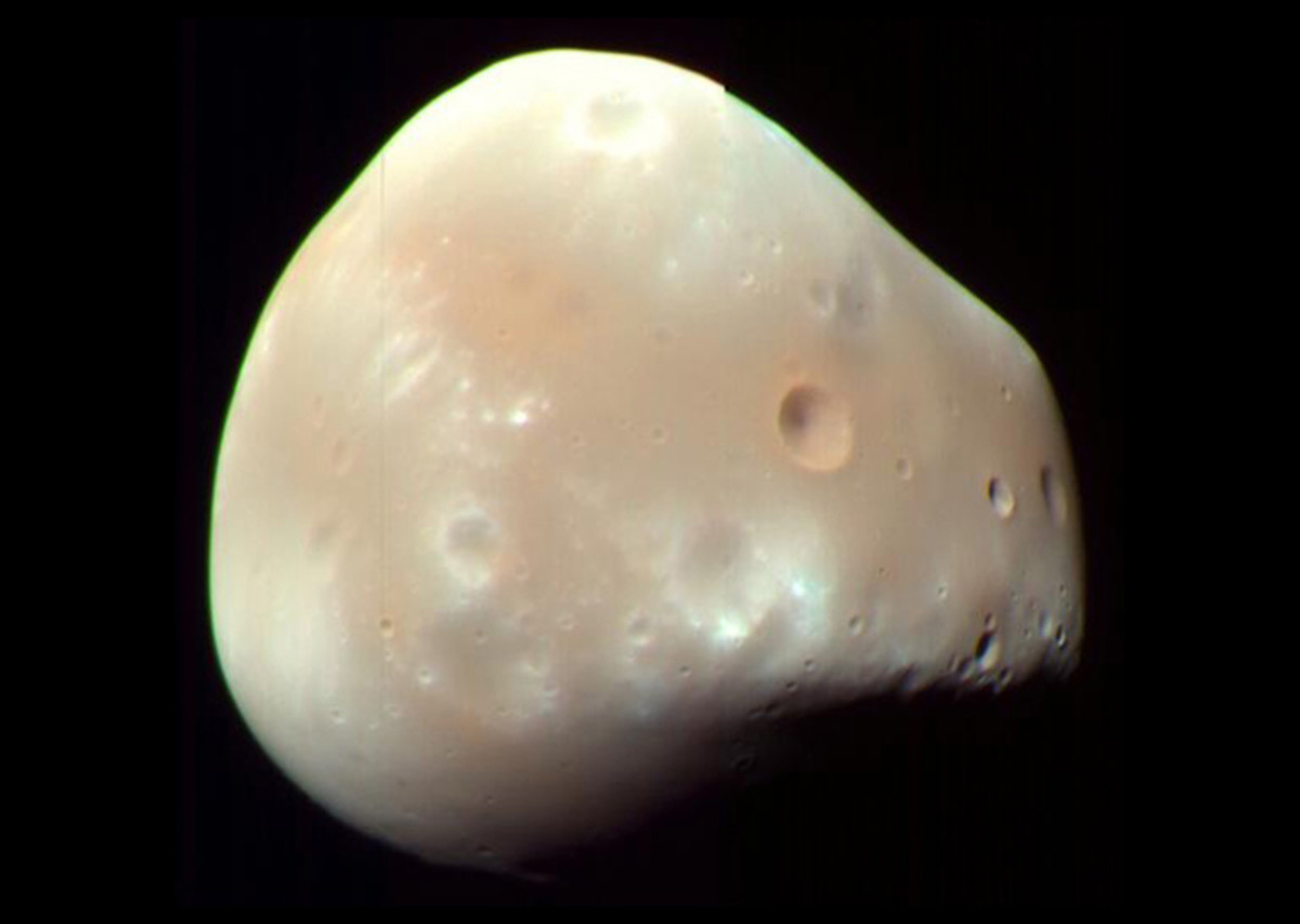 Deimos has two small craters: Voltaire and Swift.