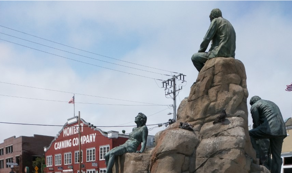 Author John Steinbeck, his bronze hair just lightly streaked with Pigeon (probably not Guillemot) poop, sits in profile, contemplating the birdwatching haven of Monterey's Cannery Row.