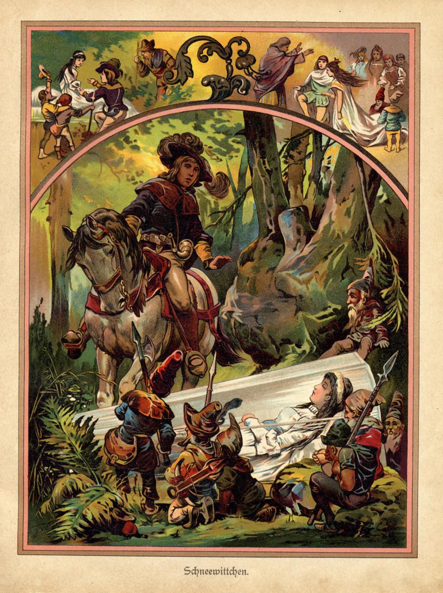 Snow White illustration from german children's book entitled Märchenbuch, c1919.