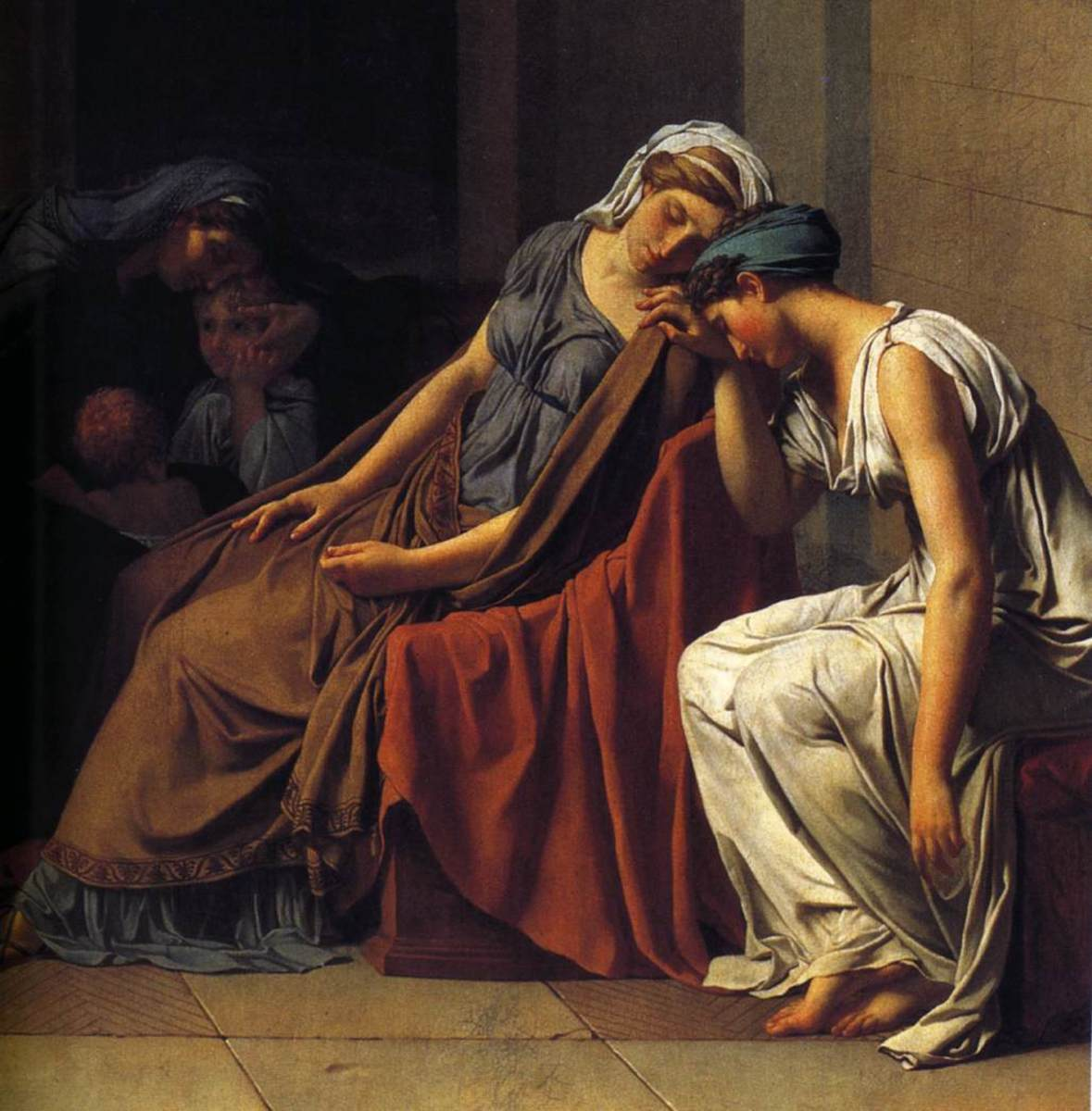 Women (detail), Jacques-Louis David, Oath of the Horatii, oil on canvas, 3.3 x 4.25m, commissioned by Louis XVI, painted in Rome, exhibited at the salon of 1785 (Musée du Louvre)
