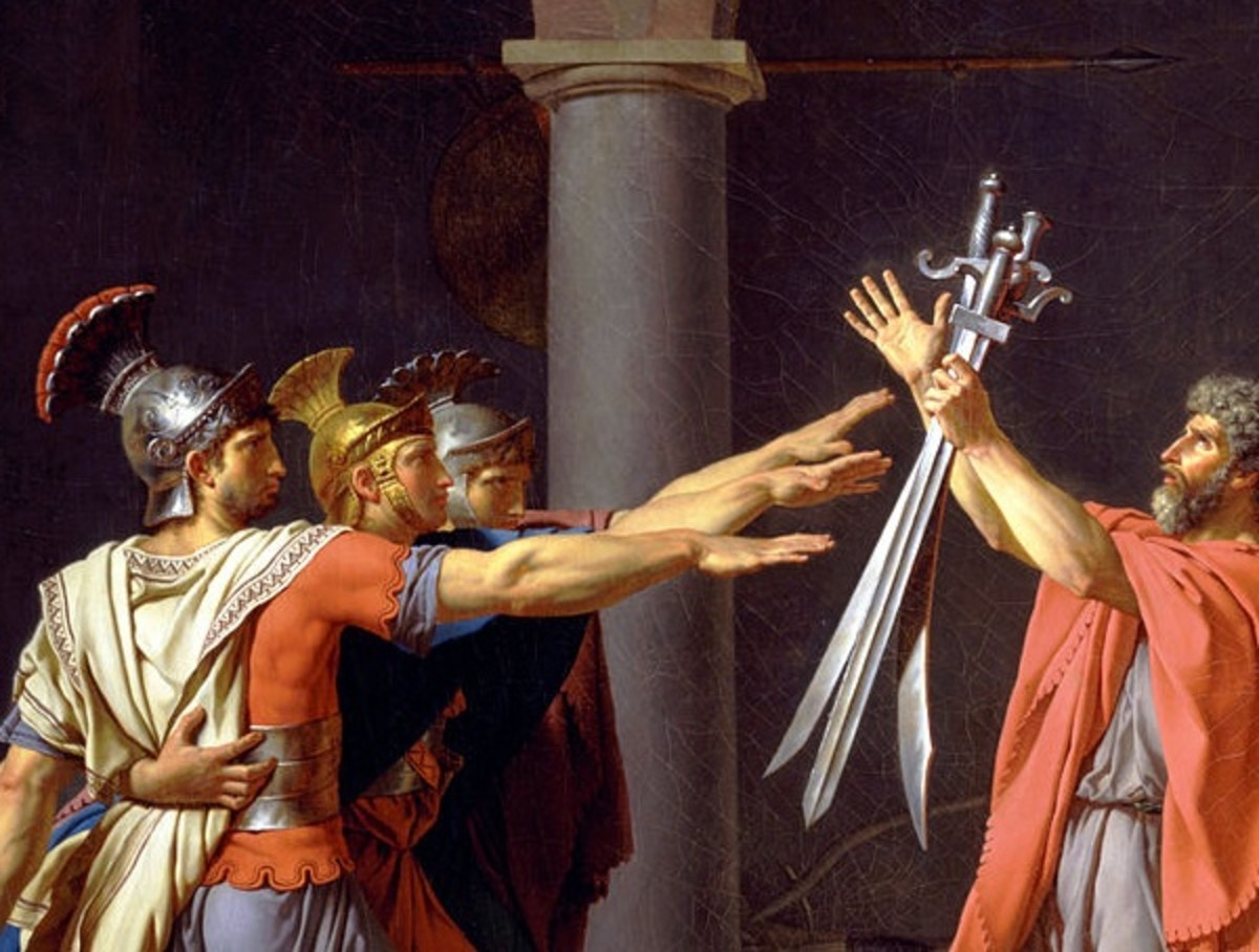 The Horatii brothers (detail), Jacques-Louis David, Oath of the Horatii, oil on canvas, 3.3 x 4.25m, commissioned by Louis XVI, painted in Rome, exhibited at the salon of 1785 (Musée du Louvre)