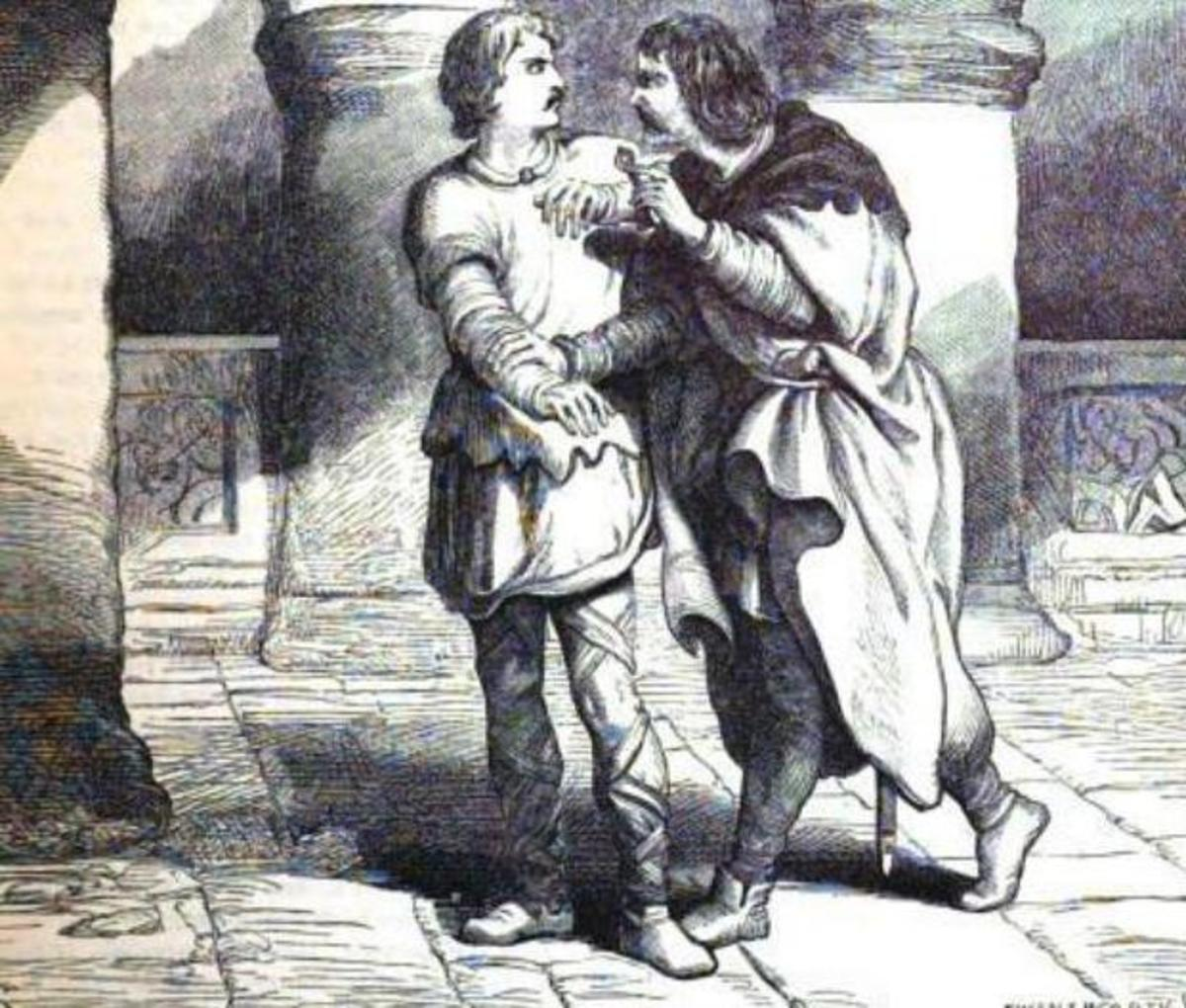 "Edmund to Edgar: ""Pray ye, go; there's my key. If you do stir abroad, go armed."" Source: Cassell's illustrated Shakespeare. illustr. by H.C. Selous 1864"