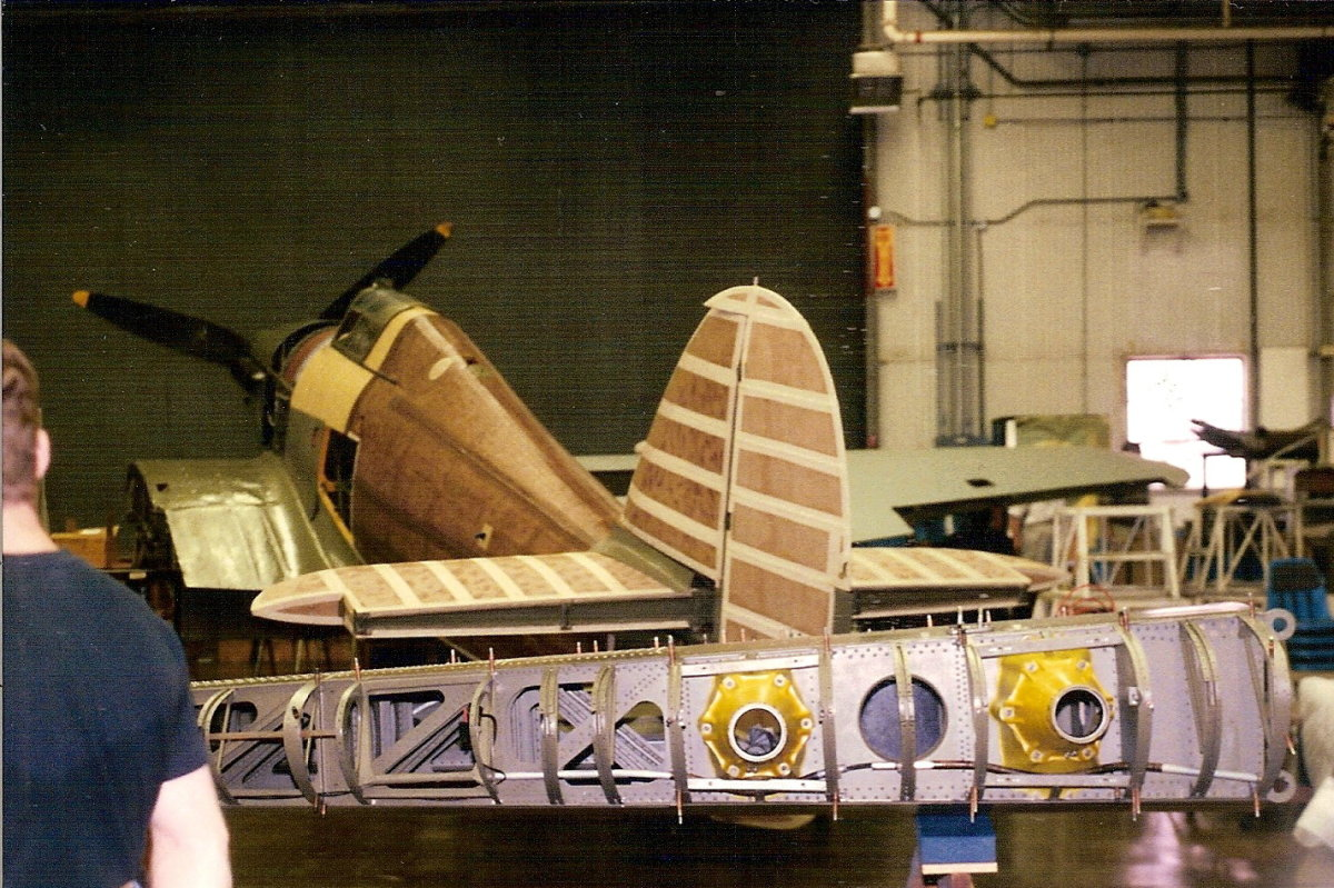 The Hawker Hurricane undergoing restoration at the Paul E. Garber Facility, Silver Hill, MD.