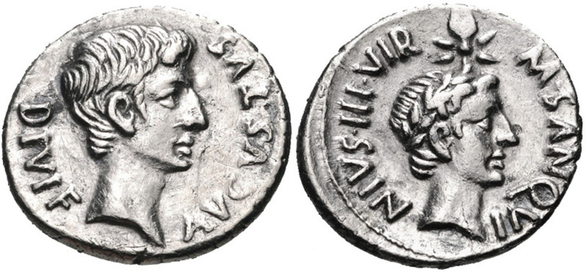 A denarius coin minted at Rome in 17 BC. Caesar Augustus (left) and Julius Caesar (right). Image courtesy of Classical Numismatic Group