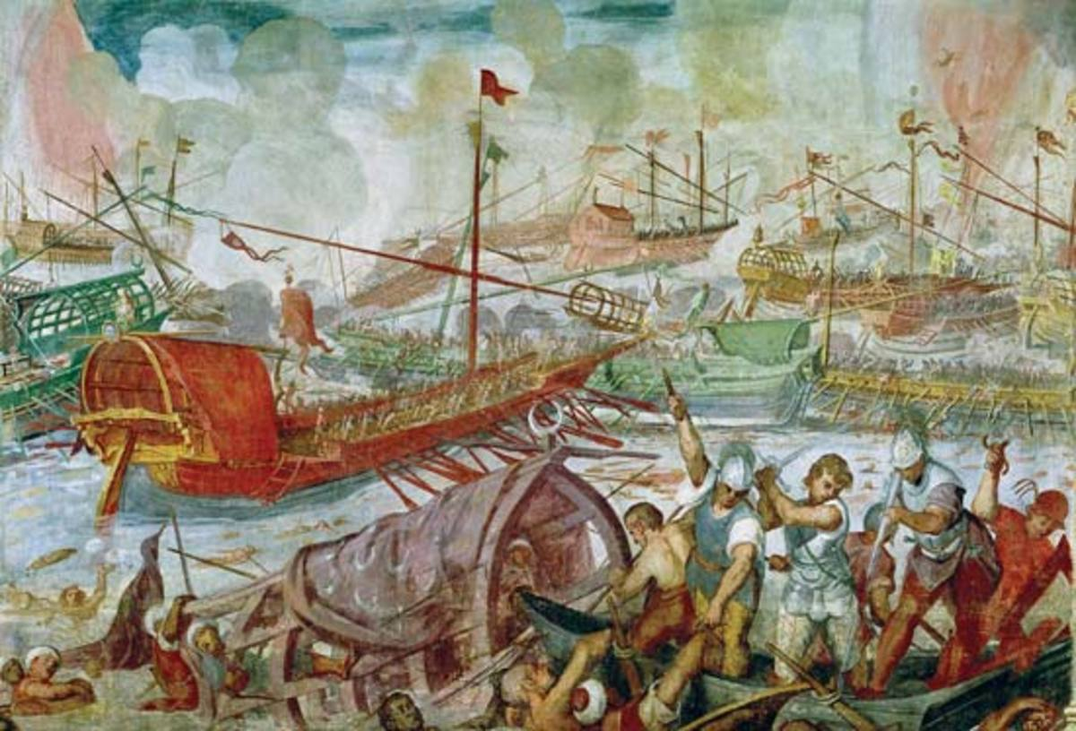 The Battle of Actium, 2 September 31 BC, oil on canvas by Lorenzo A. Castro, 1672. National Maritime Museum, London.