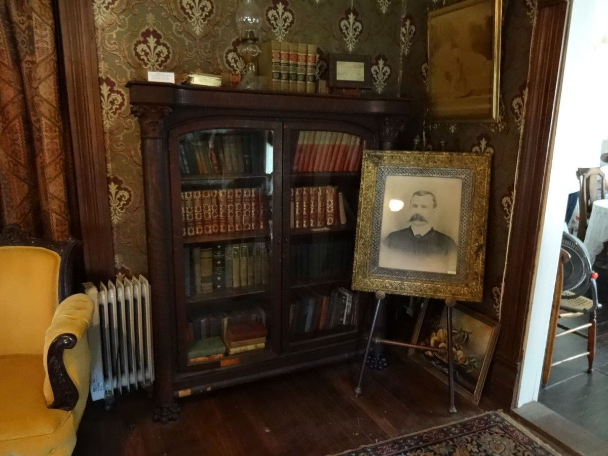 Heavy, solid wood bookcases containing vintage volumes and prized books.
